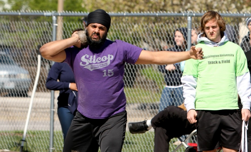Bhupinder Chahal scored two points in the shot put. Photo by Kathy Arnold.
