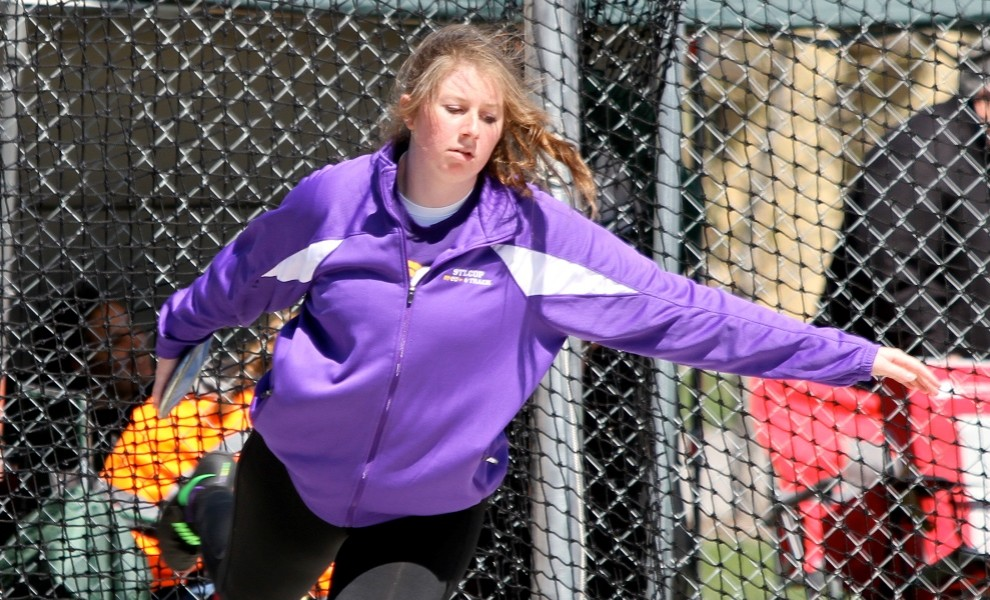 Morgan Dermody broke her own STLCOP record in the discus on Saturday. Photo by Kathy Arnold.