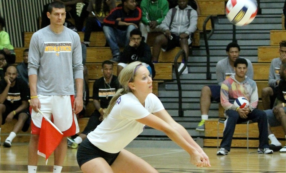 Mallory Mensing is close to breaking the STLCOP record for career digs. Photo by Kathy Arnold.