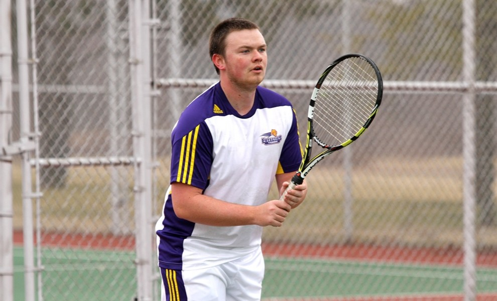 Corey Thompson recorded singles and doubles wins vs. FU. Photo by Kathy Arnold.