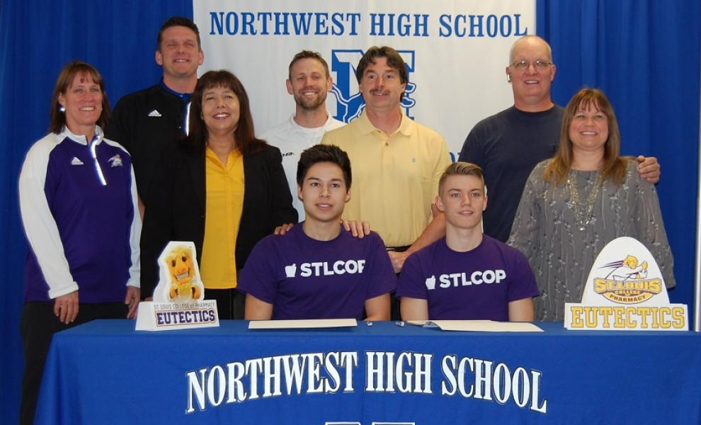 Sean Harris and Brent Adams sign letters of intent to play soccer at STLCOP.