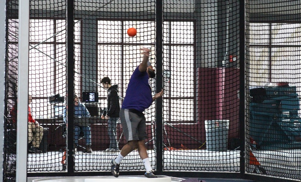 Bhupinder Chahal competes in the shot put at the Prin Relays. Photo by Travis Rae.