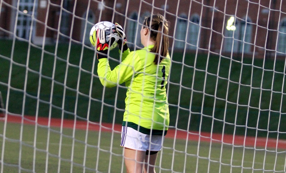Goalkeeper Emily Nickels ranks fifth in the AMC for saves per game. Photo by Kathy Arnold.