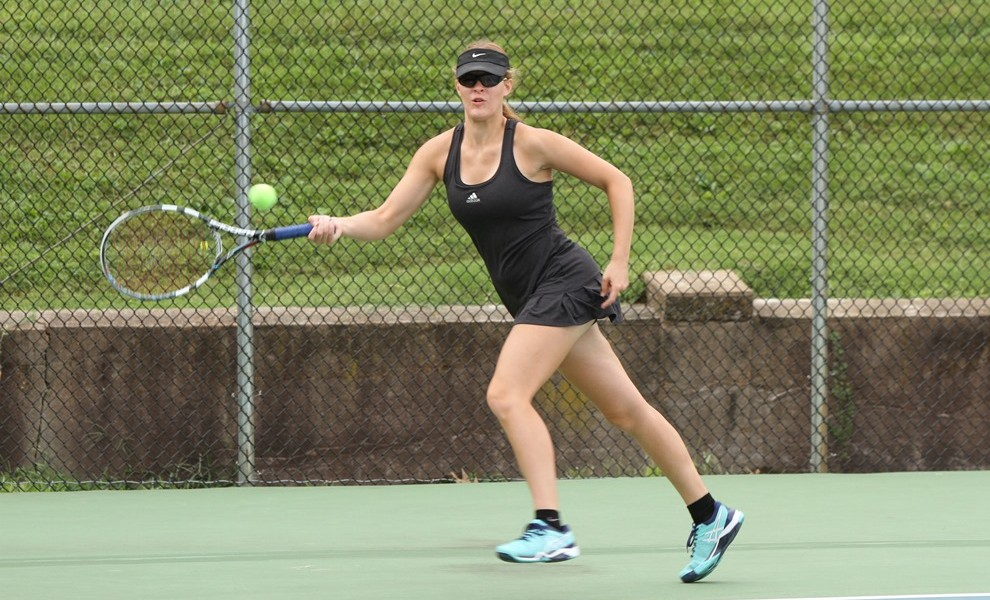 Emily Stevenson had both singles and doubles wins for the Lady Euts vs. FU. Photo by Kathy Arnold.