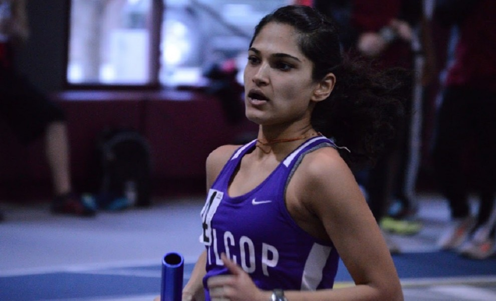 Janki Patel raced on the STLCOP 4x800m and Distance Medley Relays at the Prin Relays. Photo by Reid Cure.