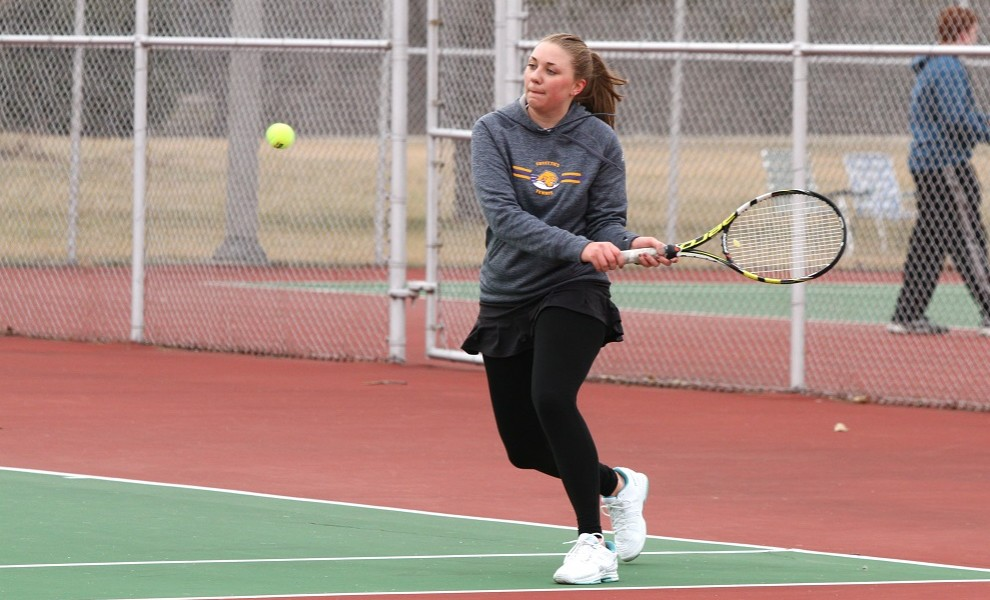 Jenna Smith had wins at singles and doubles against the Panthers. Photo by Kathy Arnold.
