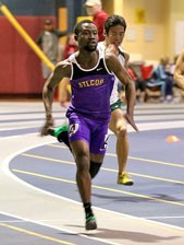 Josh Anim Anno finished 3rd in the 60m dash, earning All-Conference honors and breaking the STLCOP record. Photo by Kathy Arn