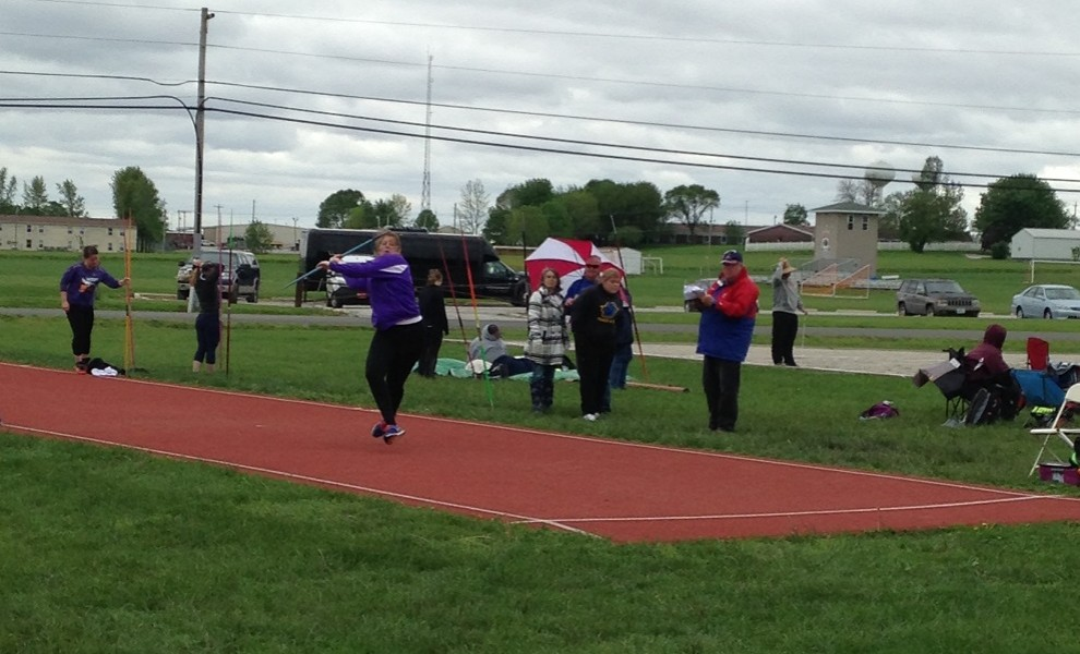 Morgan Dermody throws the javelin at the AMC Championships. She earned All-Conference honors in the discus.