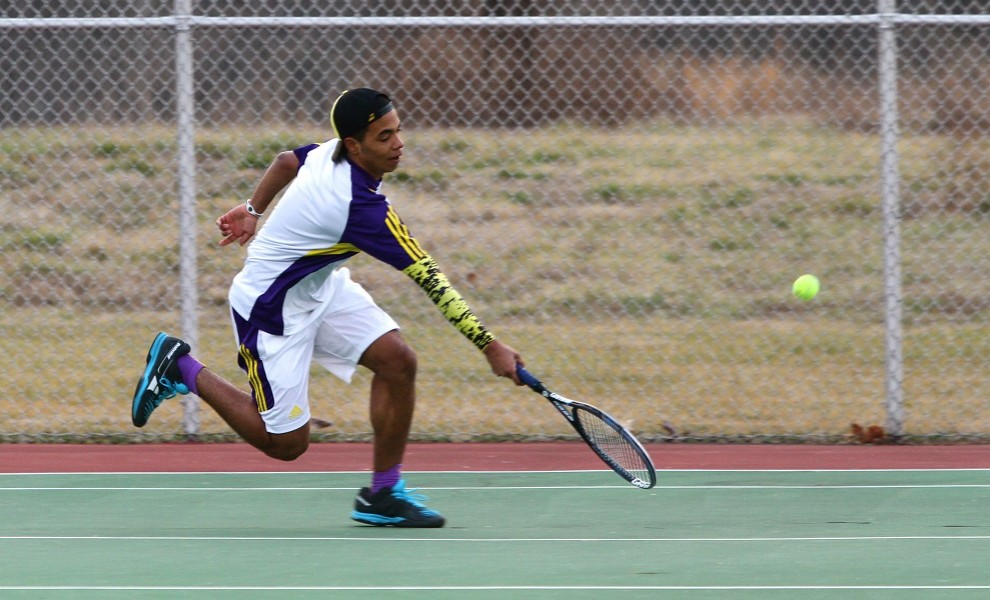 Sheldon Taylor's singles win at court 6 clinched the win for the Eutectics over the Panthers. Photo by Kathy Arnold.