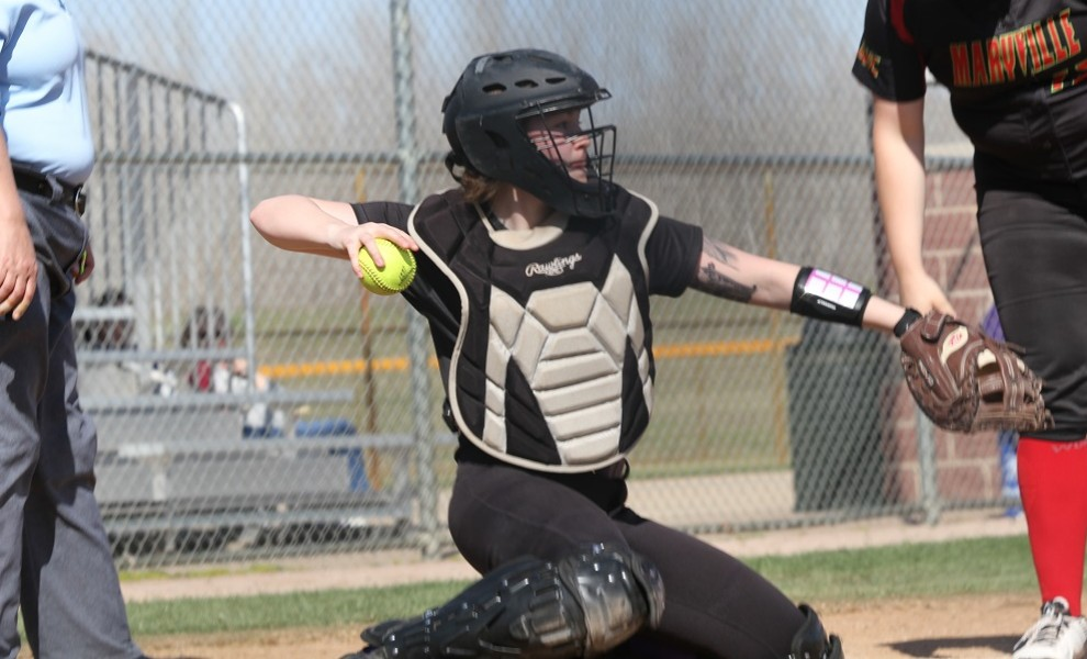 Tayler Evans, playing first base and catcher, had 10 putouts for the day. Photo by Kathy Arnold.