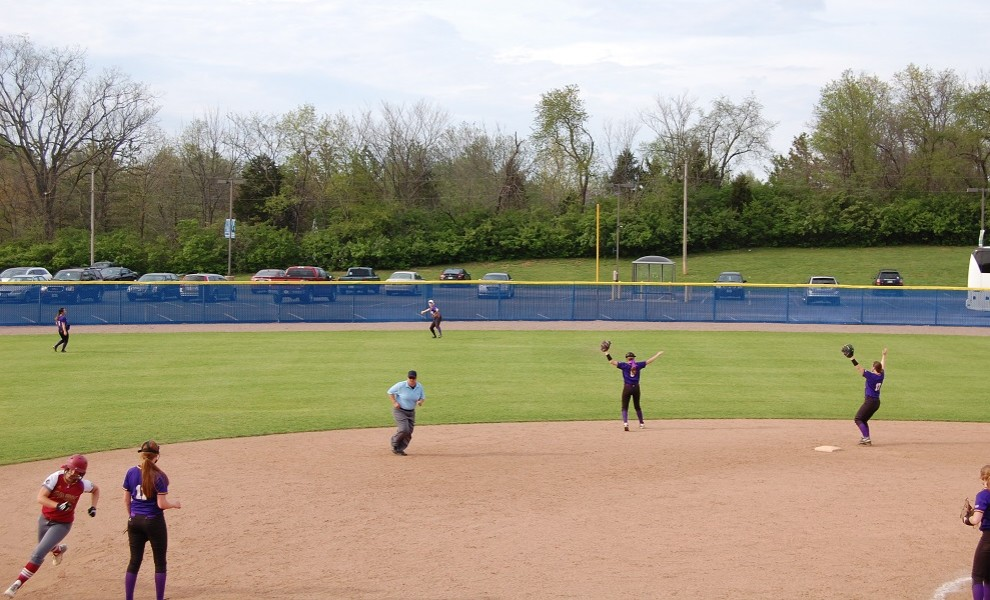 Lauren Wright makes a play from Center Field. She hit her second home run of the season on Sunday.