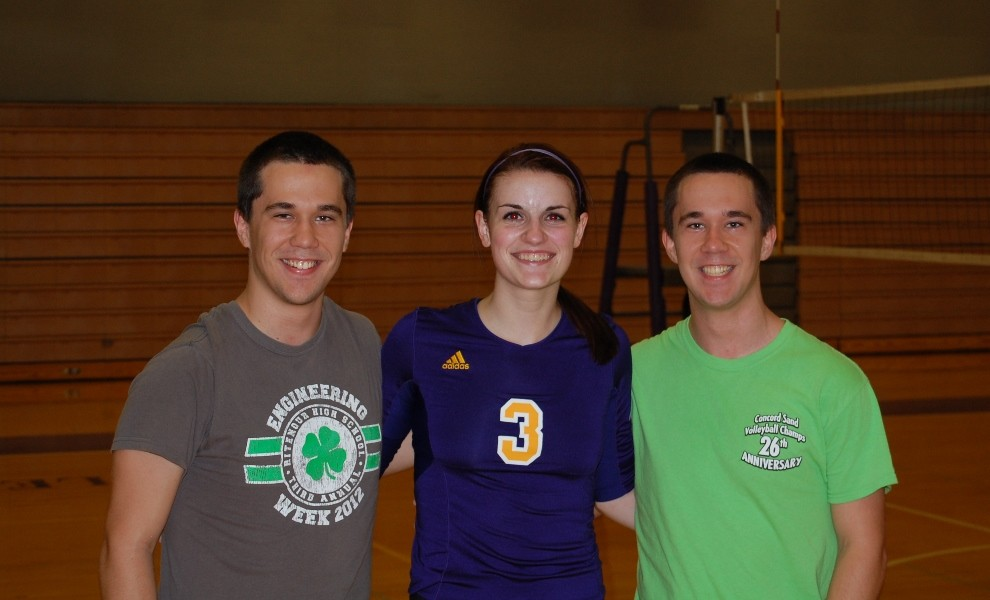 Senior Ashley Walter poses with team managers/statisticians Dylan and Adam Batty.