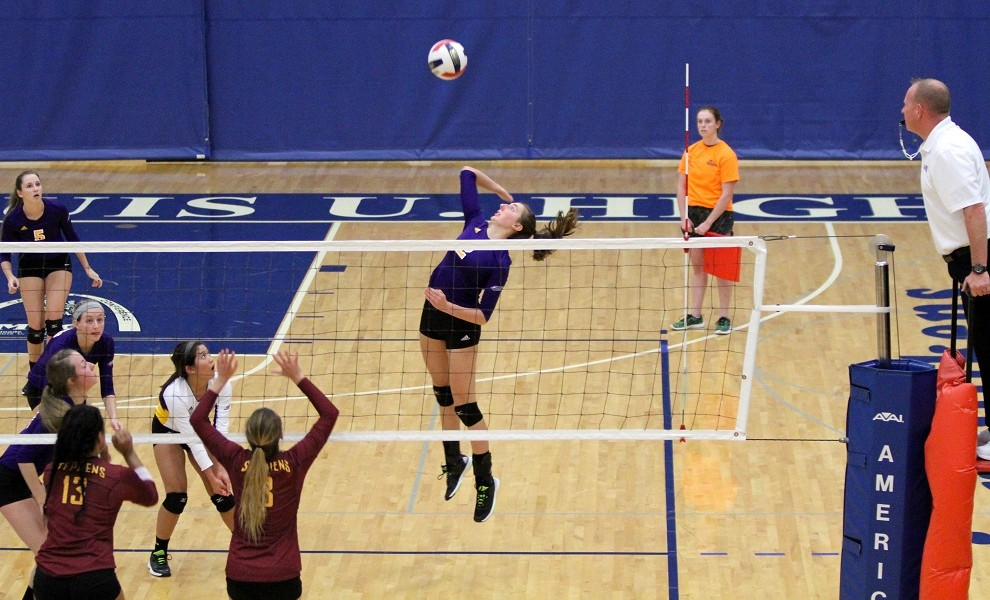 Amy Rotella picked up 16 kills and 3 block assists tonight at Stephens College. Photo by Kathy Arnold.